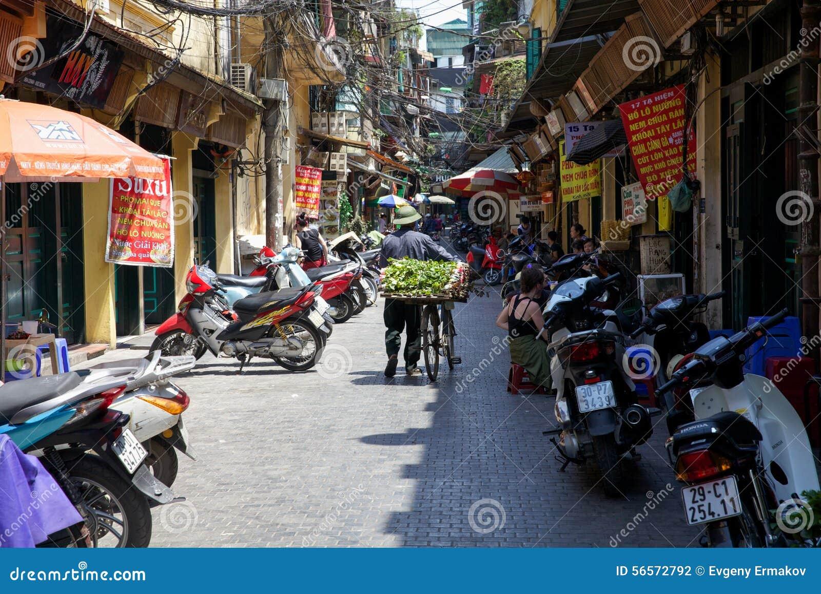 Download Βιετναμέζικος προμηθευτής λουλουδιών με το ποδήλατο στην οδό του Ανόι Εκδοτική Φωτογραφία - εικόνα από καλοκαίρι, ημέρα: 56572792