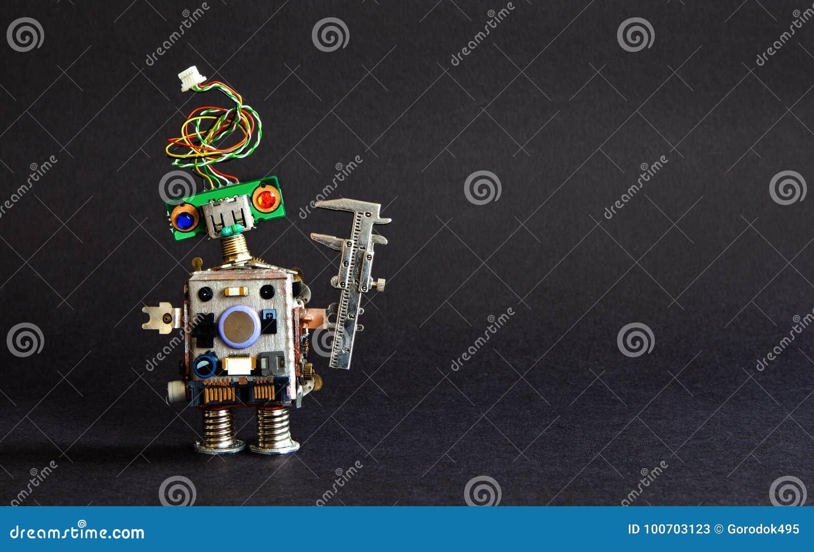 βιομηχανία 4 έννοια τεχνολογίας αυτοματοποίησης 0 Δημιουργικός παχυμετρικός διαβήτης μηχανικών ρομπότ σχεδίου στο μαύρο υπόβαθρο