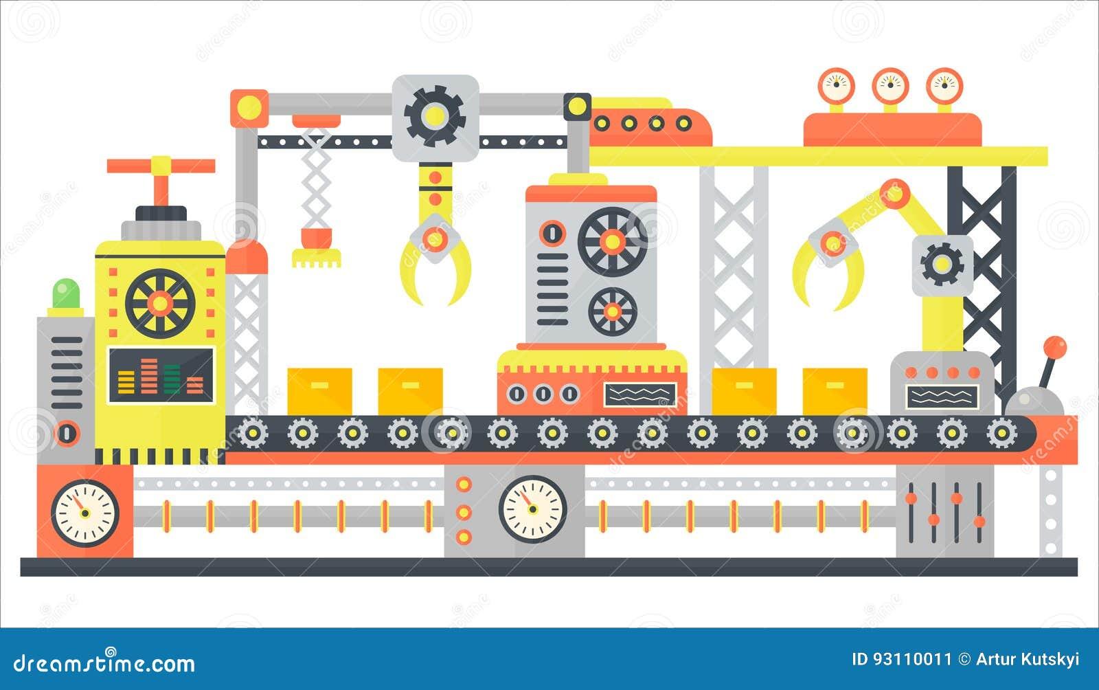 Βιομηχανική αφηρημένη γραμμή μηχανών στο επίπεδο ύφος Εξοπλισμός τεχνολογίας μηχανημάτων κατασκευής εργοστασίων, διάνυσμα εφαρμοσ