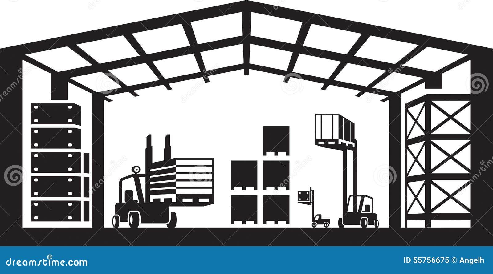 Βιομηχανική σκηνή αποθηκών εμπορευμάτων