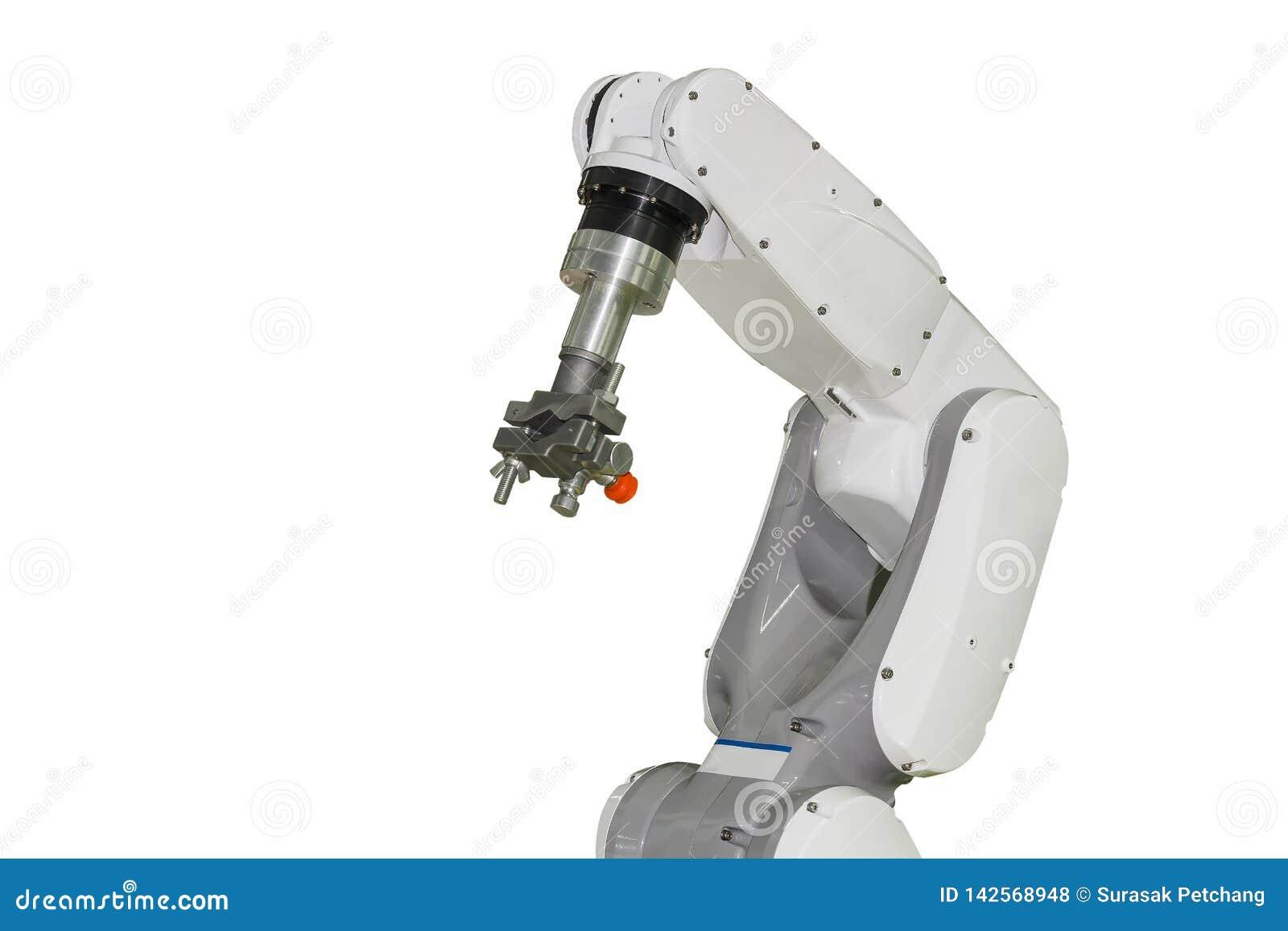 Βιομηχανικός βραχίονας ρομπότ και για πολλές χρήσεις γρήγορο πιάσιμο που απομονώνονται στο άσπρο υπόβαθρο