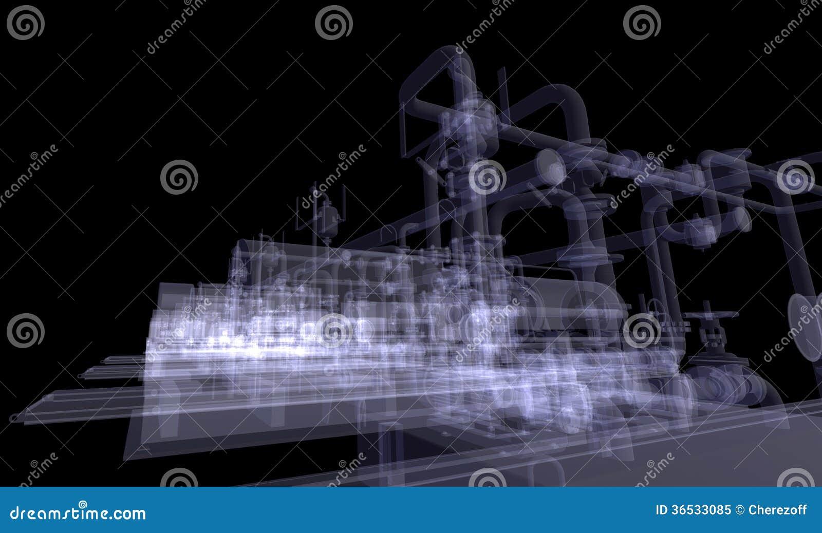 Βιομηχανικός εξοπλισμός. Η ακτίνα X δίνει