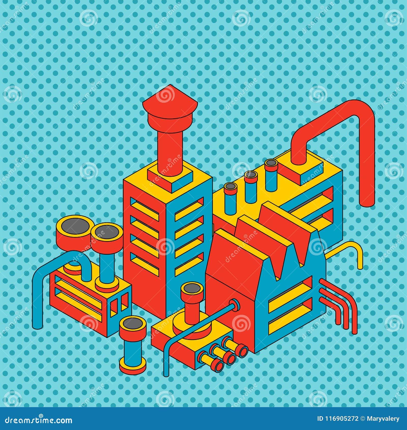 Βιομηχανικός Isometric εγκαταστάσεων Το εργοστάσιο απομόνωσε το λαϊκό ύφος τέχνης Vect