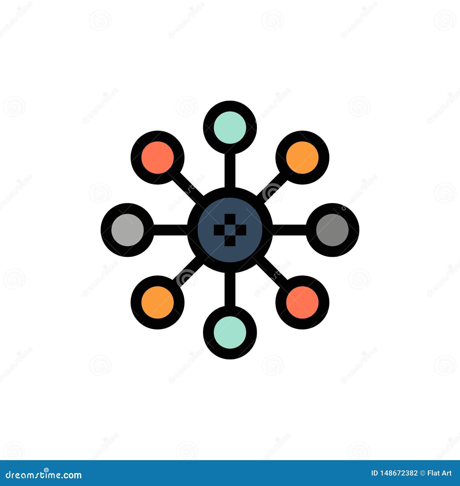 Βιοχημεία, η βιολογία, κύτταρο, επίπεδο εικονίδιο χρώματος χημείας Διανυσματικό πρότυπο εμβλημάτων εικονιδίων