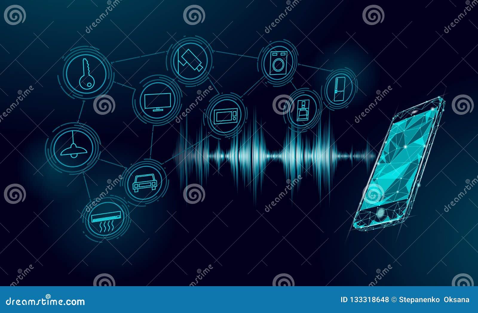 Βοηθητικός έξυπνος εγχώριος έλεγχος φωνής Διαδίκτυο της έννοιας τεχνολογίας καινοτομίας εικονιδίων πραγμάτων Ασύρματο δίκτυο soun