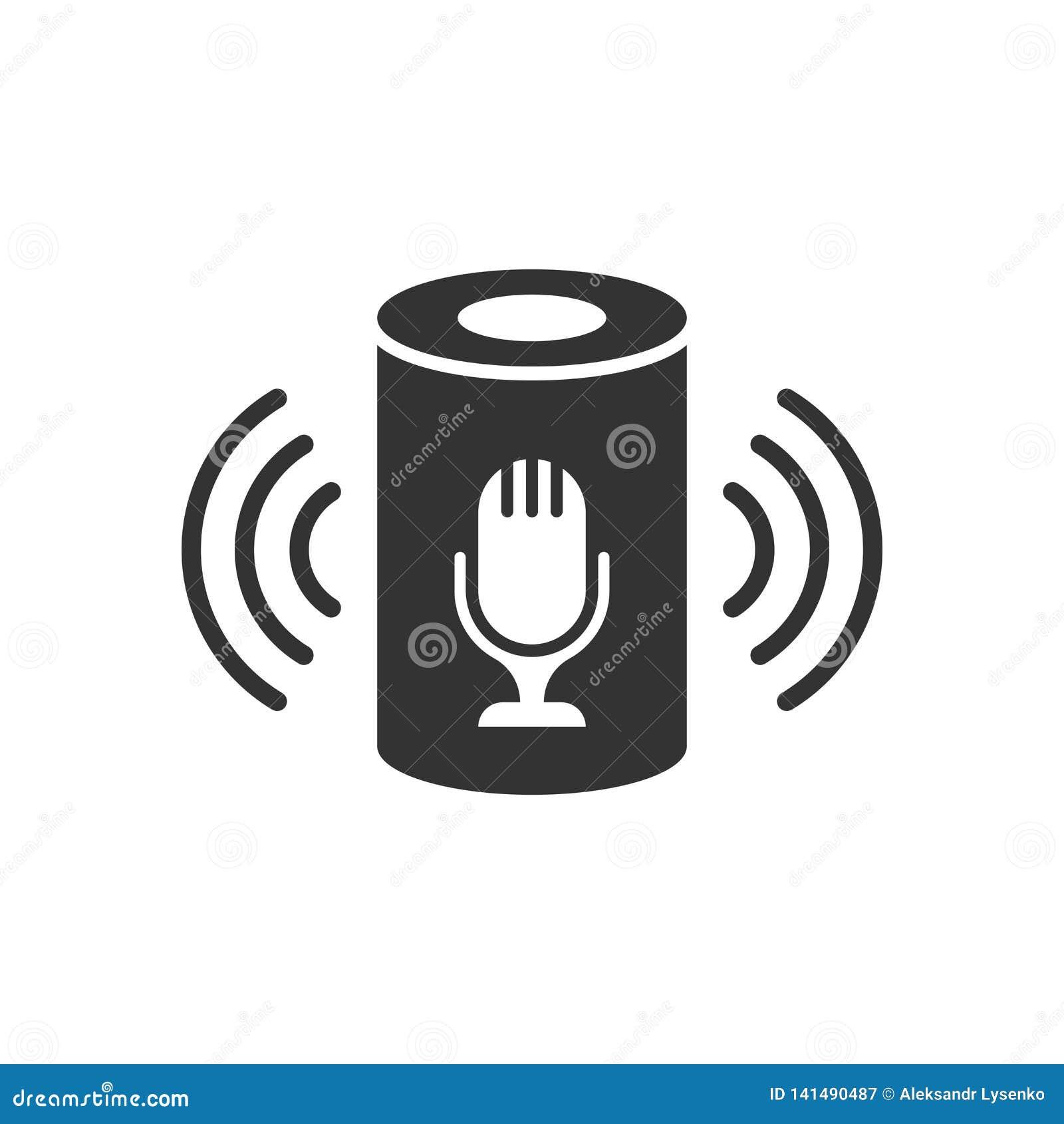 Βοηθητικό εικονίδιο φωνής στο επίπεδο ύφος Το έξυπνο σπίτι βοηθά τη διανυσματική απεικόνιση απομονωμένο στο λευκό υπόβαθρο Επιχεί
