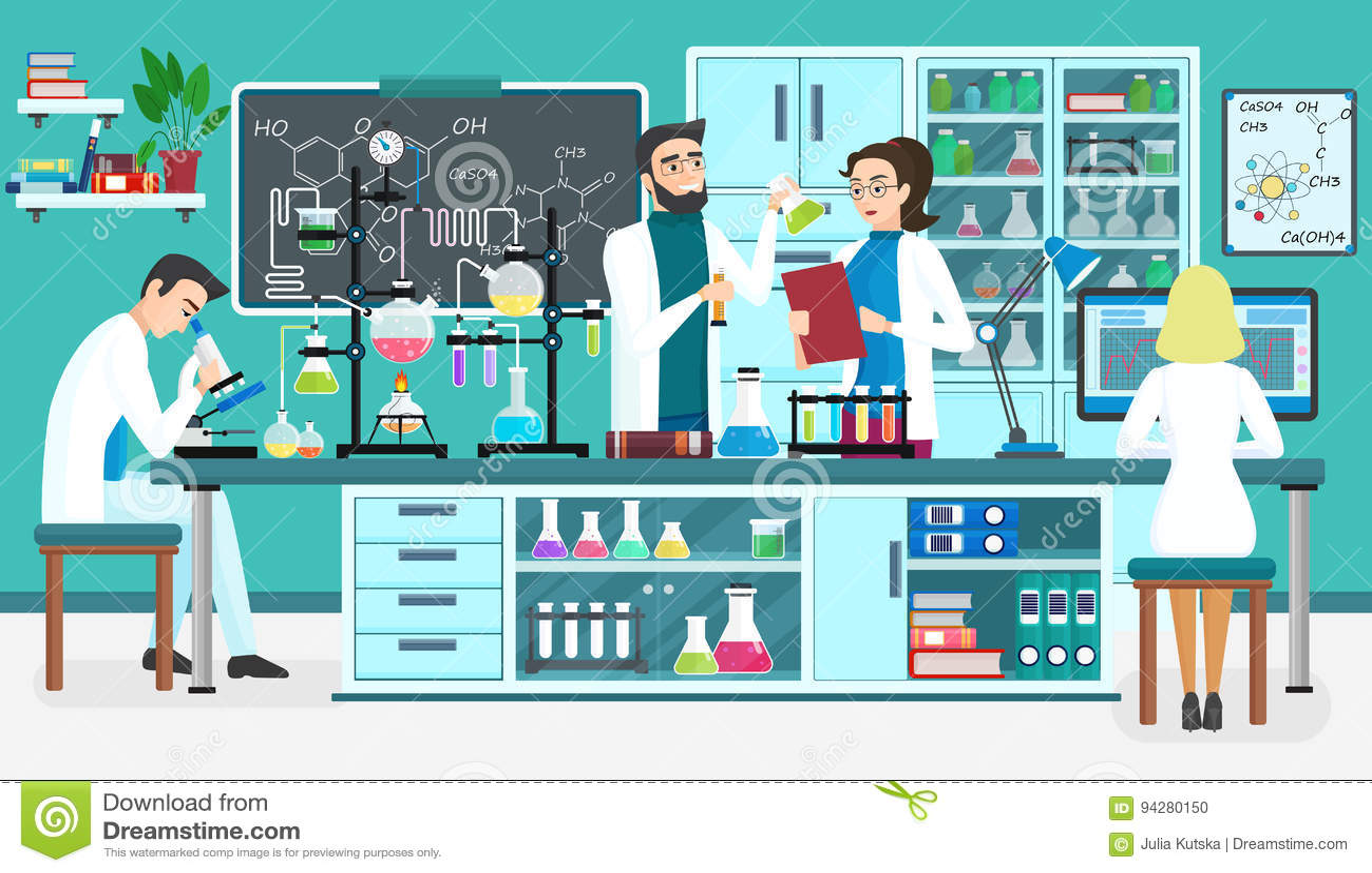 Βοηθοί εργαστηριακών ανθρώπων που εργάζονται στο επιστημονικό ιατρικό βιολογικό εργαστήριο χημικά πειράματα Διάνυσμα κινούμενων σ