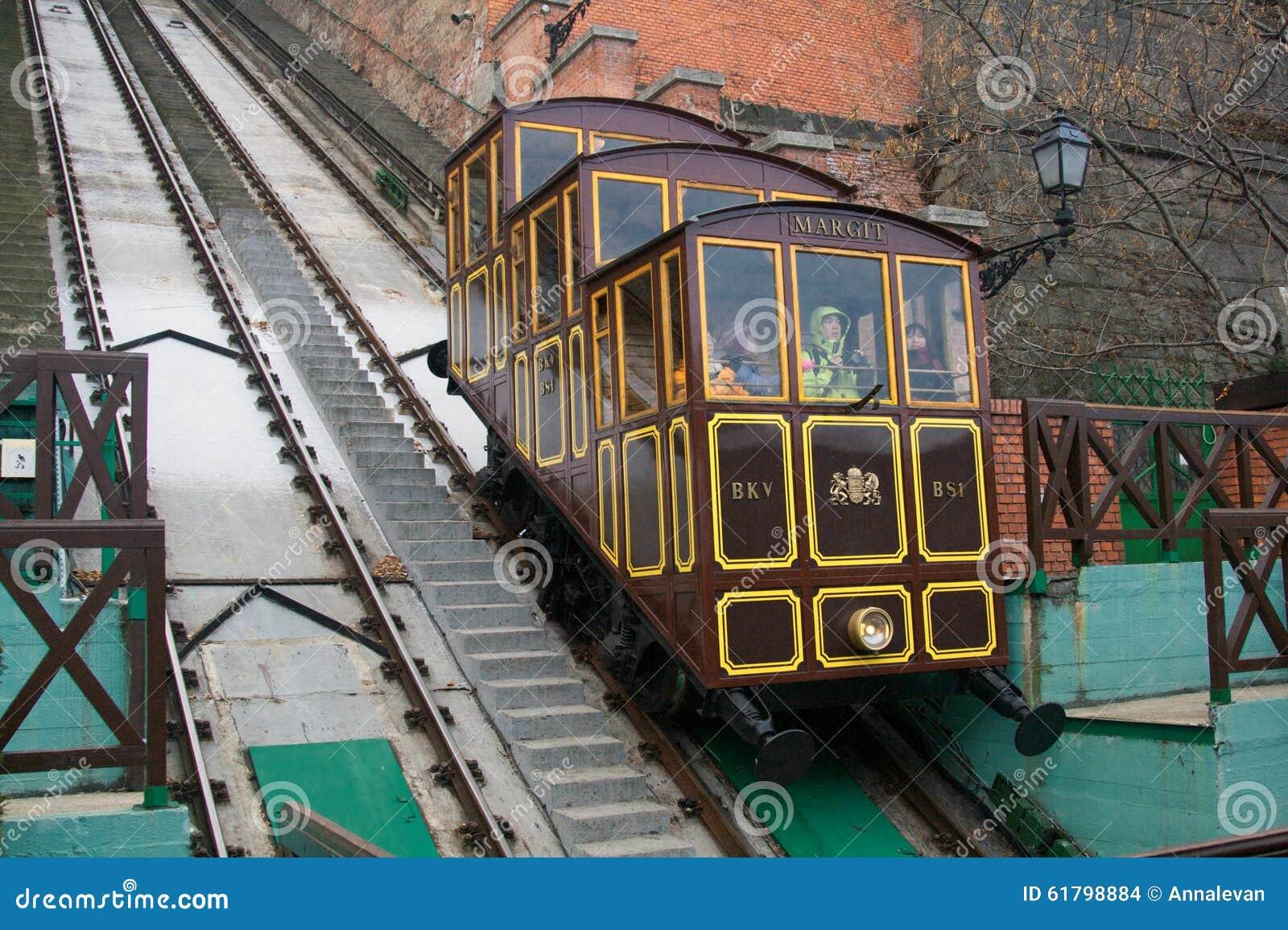 ΒΟΥΔΑΠΕΣΤΗ, ΟΥΓΓΑΡΙΑ - 27 ΔΕΚΕΜΒΡΊΟΥ 2014: Funicular στο κάστρο Buda