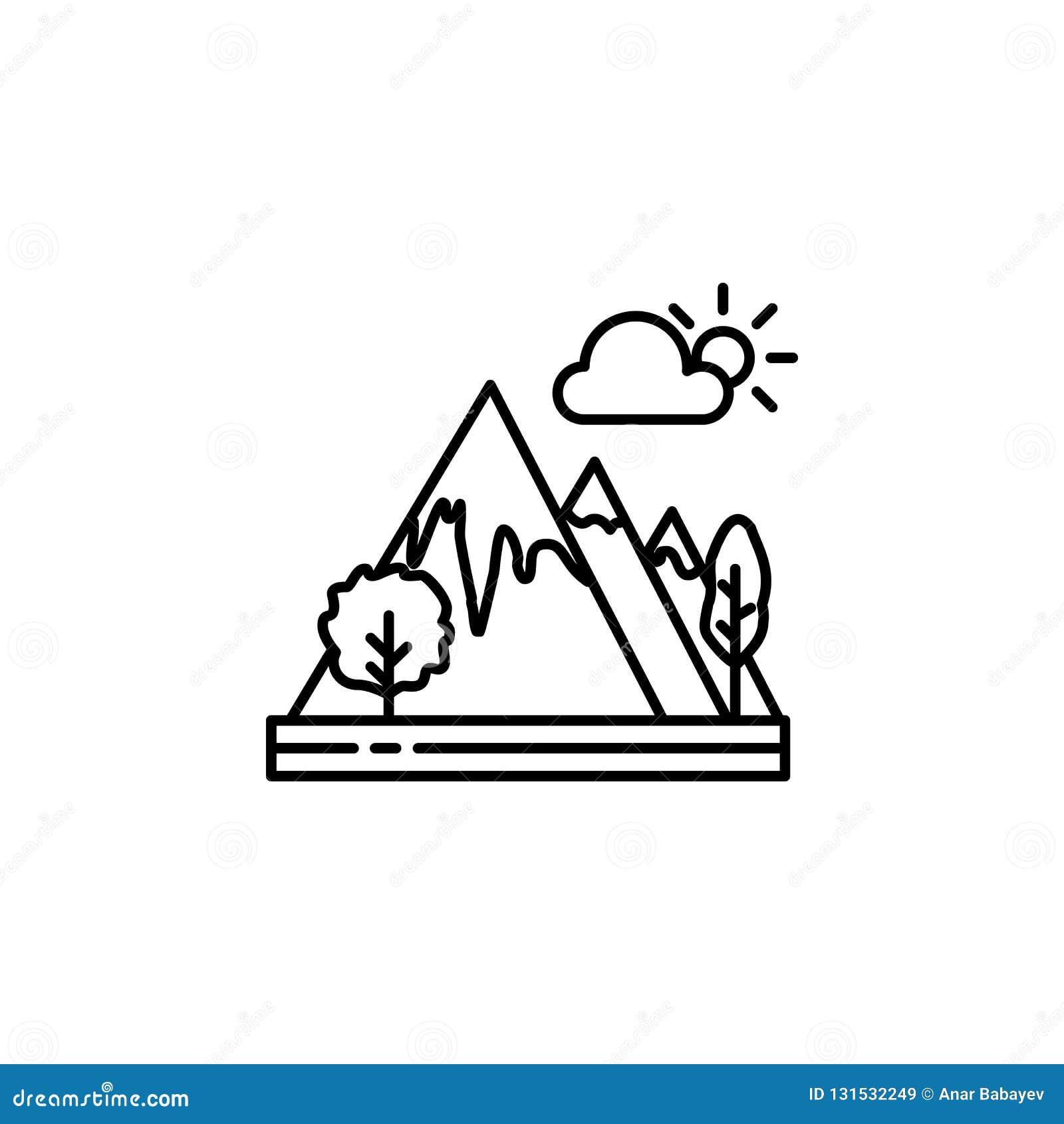 Βουνά, εικονίδιο περιλήψεων σύννεφων Στοιχείο της απεικόνισης τοπίων Το εικονίδιο περιλήψεων σημαδιών και συμβόλων μπορεί να χρησ