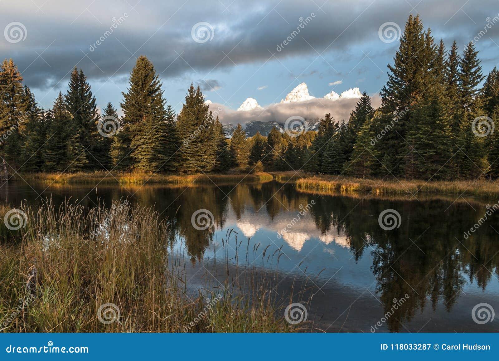 Βουνά Teton που απεικονίζουν στο νερό στην προσγείωση Schwabacher ` s