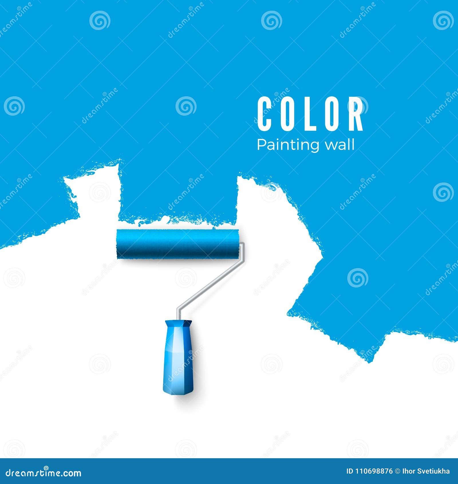 Βούρτσα κυλίνδρων χρωμάτων Σύσταση χρωμάτων κατά τη ζωγραφική με έναν κύλινδρο Ζωγραφική του τοίχου στο μπλε επίσης corel σύρετε