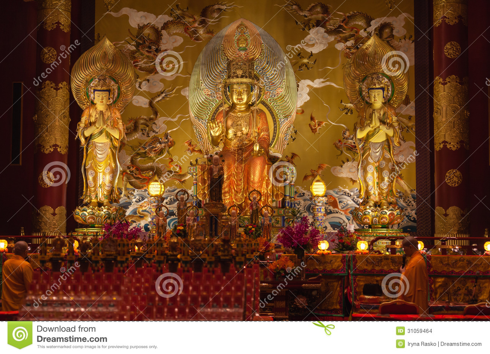 Βούδας στο ναό λειψάνων δοντιών στην πόλη της Κίνας, Σιγκαπούρη