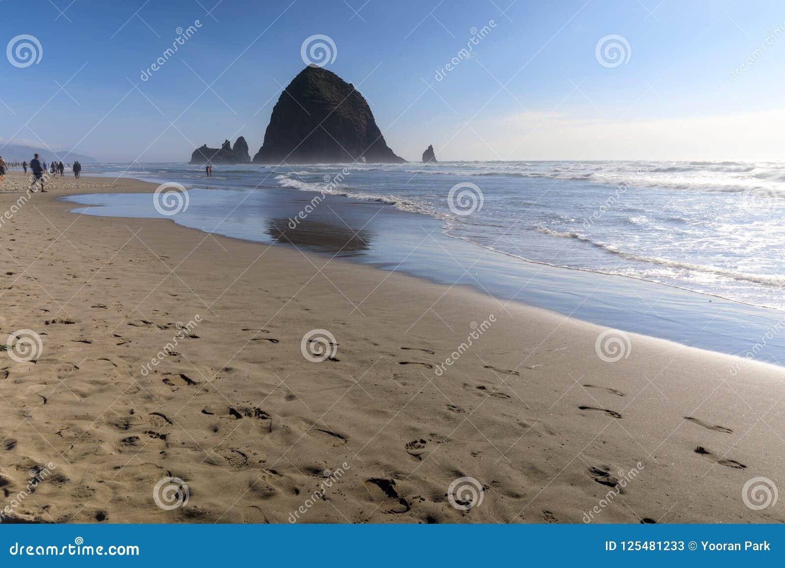 Βράχος θυμωνιών χόρτου στην παραλία πυροβόλων, τουριστικό αξιοθέατο στο Όρεγκον