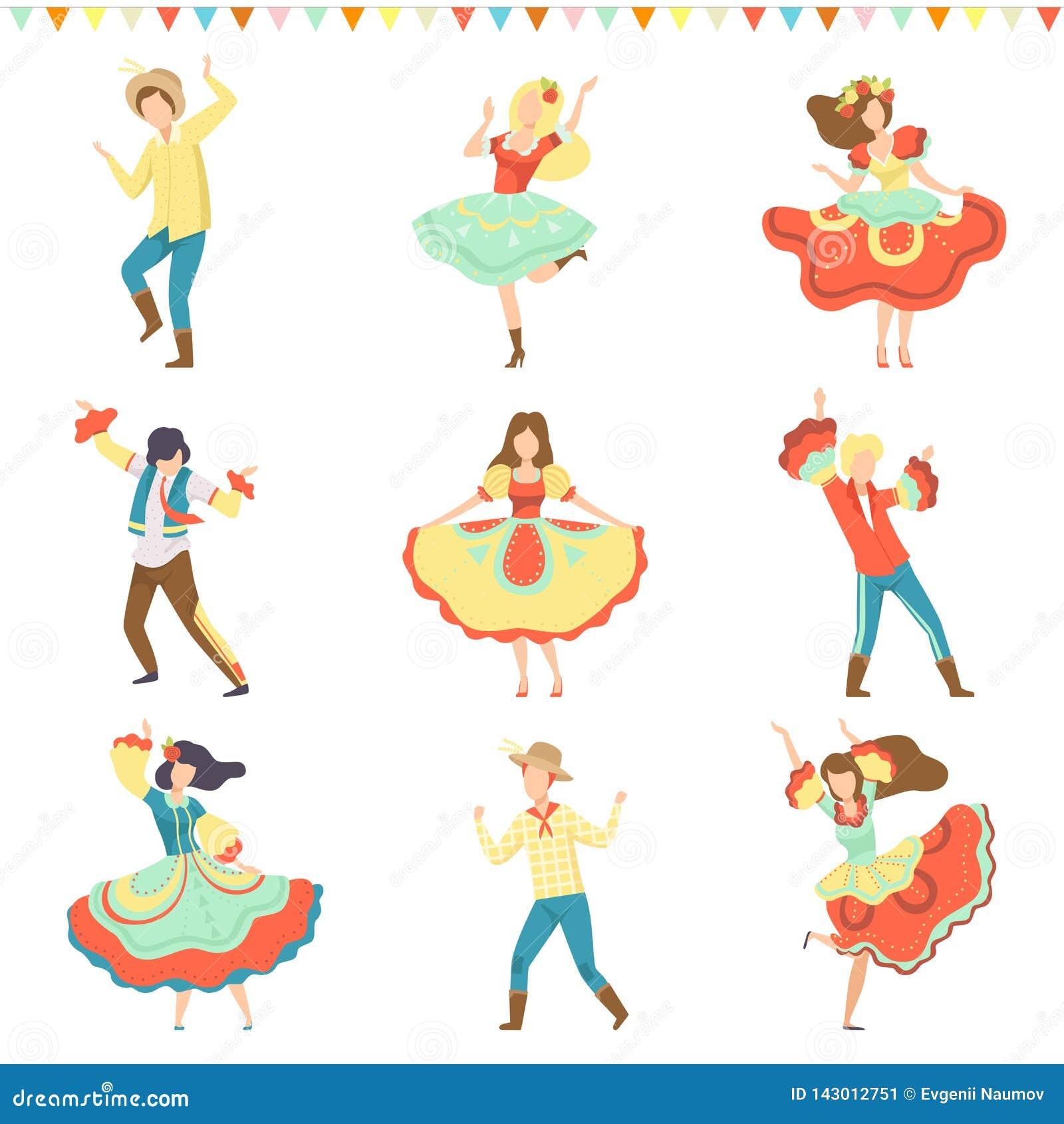 Βραζιλιάνο κόμμα Festa Junina, ευτυχείς άνδρες και γυναίκες που χορεύουν στη λατινική καθορισμένη διανυσματική απεικόνιση καρναβα