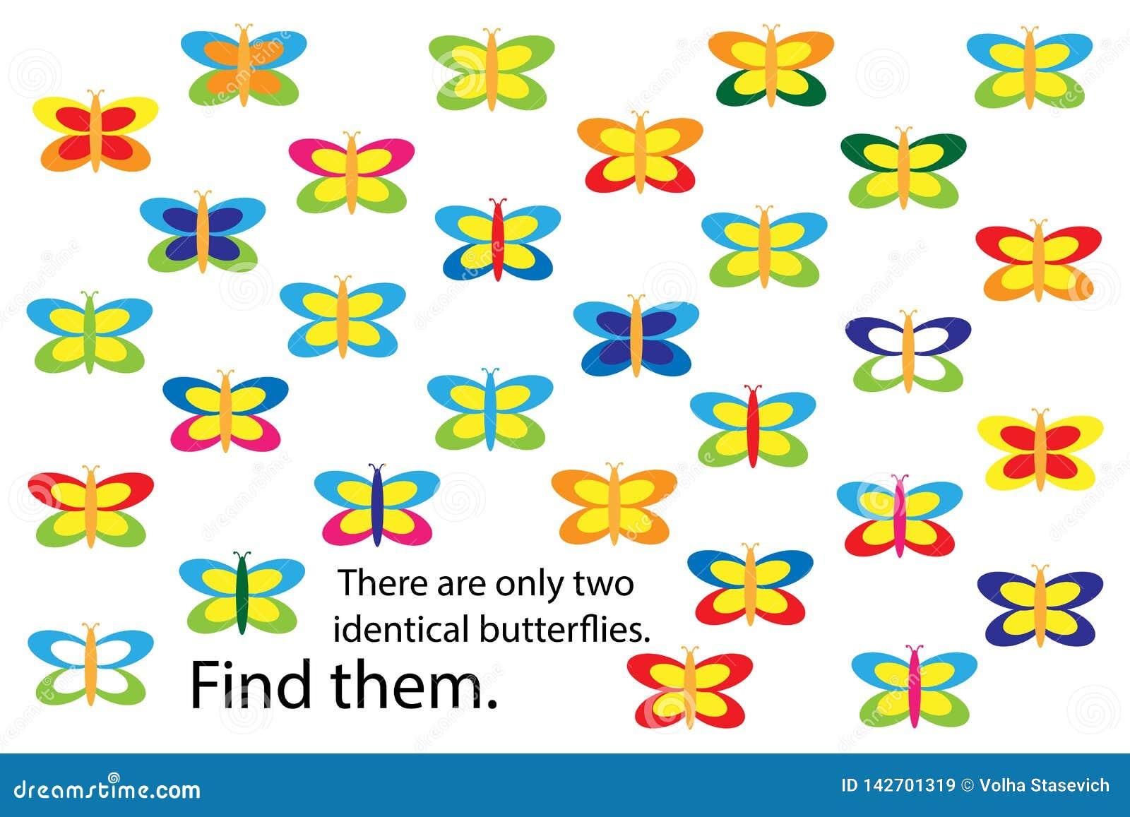 Βρείτε δύο ίδιες πεταλούδες, παιχνίδι γρίφων εκπαίδευσης διασκέδασης άνοιξη για τα παιδιά, προσχολική δραστηριότητα φύλλων εργασί