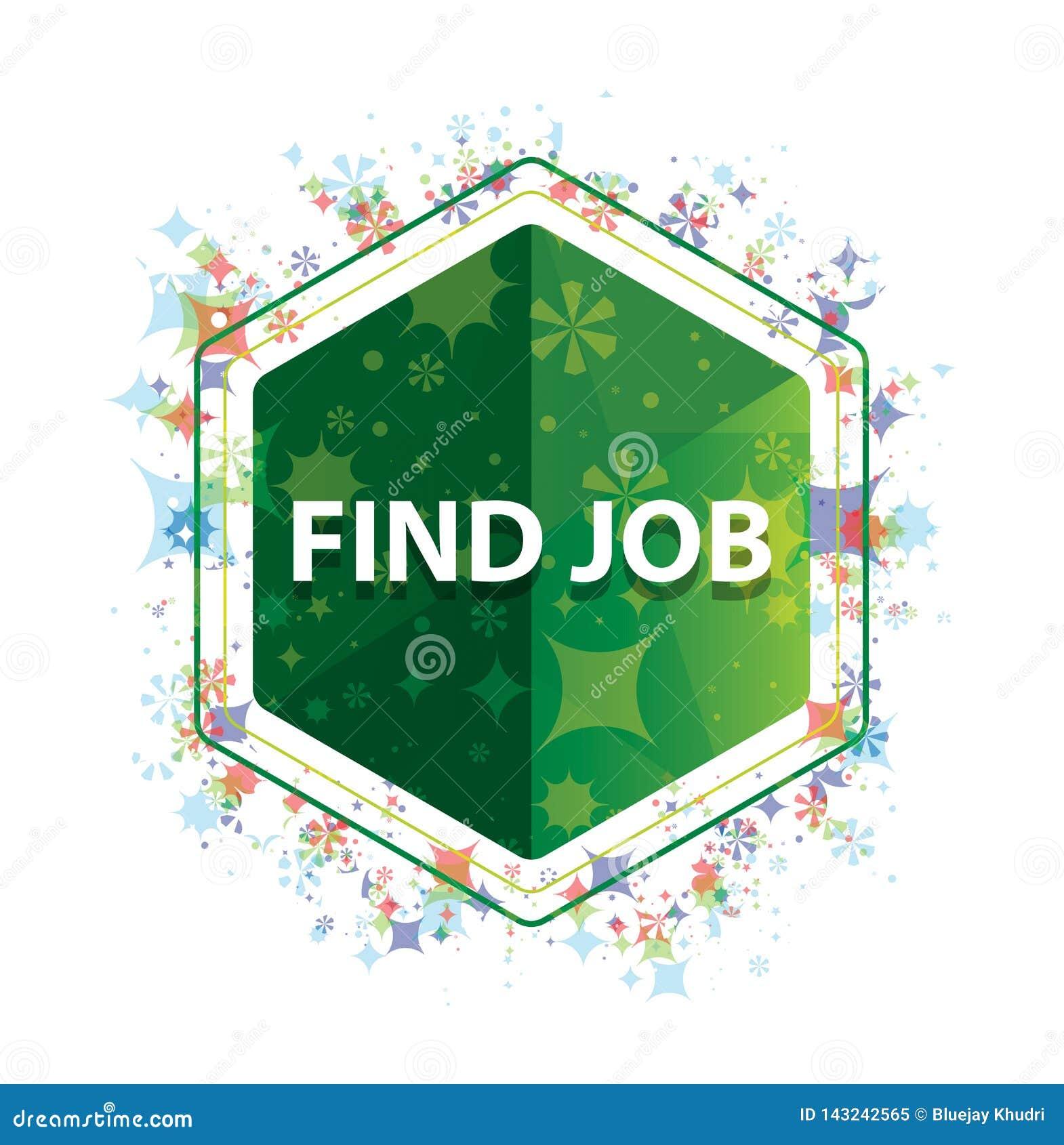 Βρείτε πράσινο hexagon κουμπί σχεδίων εγκαταστάσεων εργασίας το floral