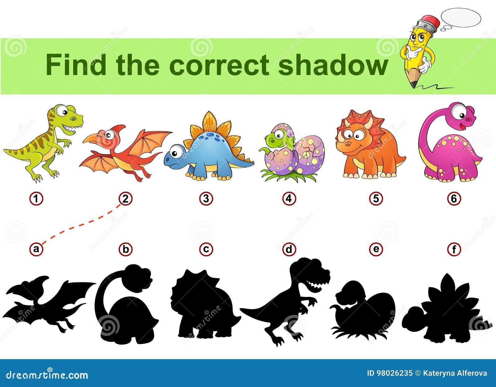 Βρείτε τη σωστή σκιά Εκπαιδευτικό παιχνίδι παιδιών Δεινόσαυροι