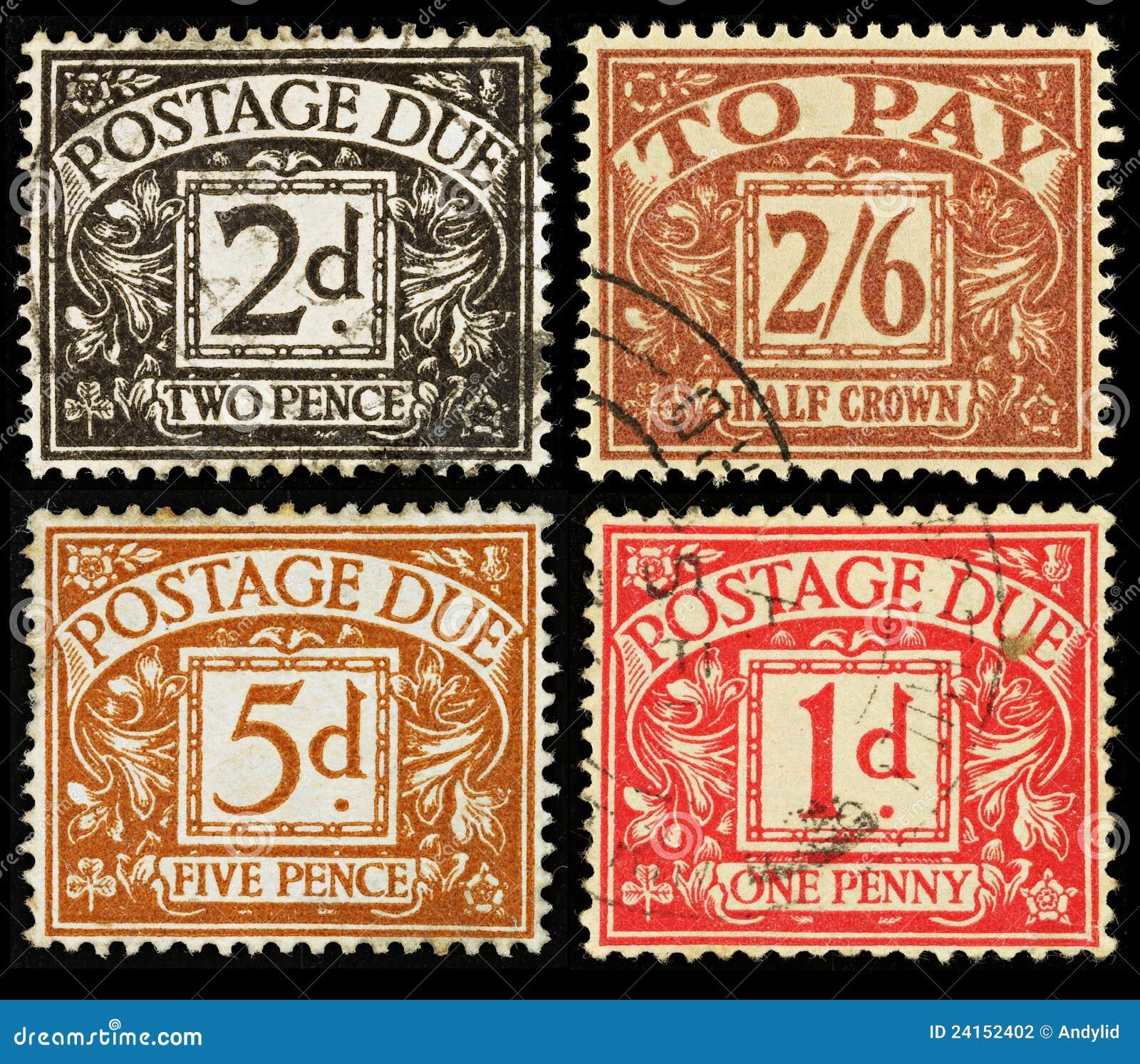 βρετανικός οφειλόμενος τρύγος γραμματοσήμων