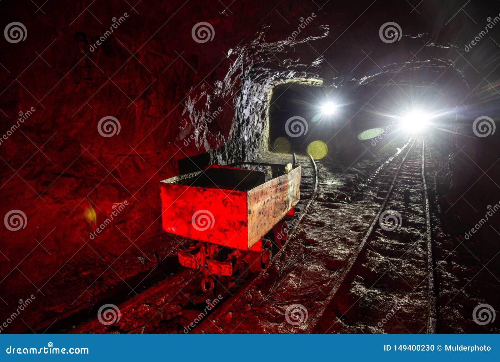 Βρώμικο εγκαταλειμμένο ορυχείο ουράνιου με τη σκουριασμένα ράγα και το καροτσάκι
