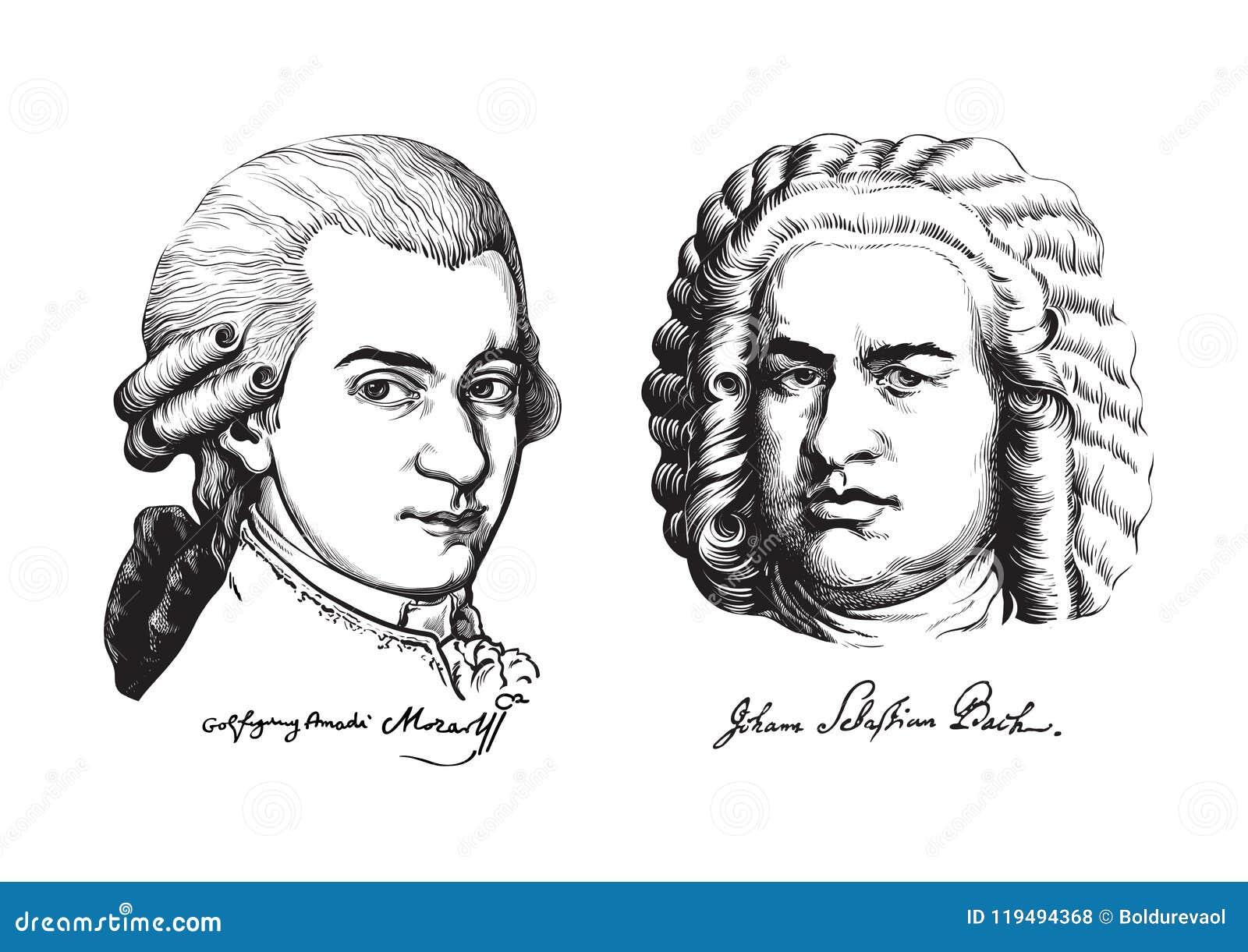 Βόλφγκανγκ Αμαντέους Μότσαρτ και Johann Sebastian Bach διάνυσμα