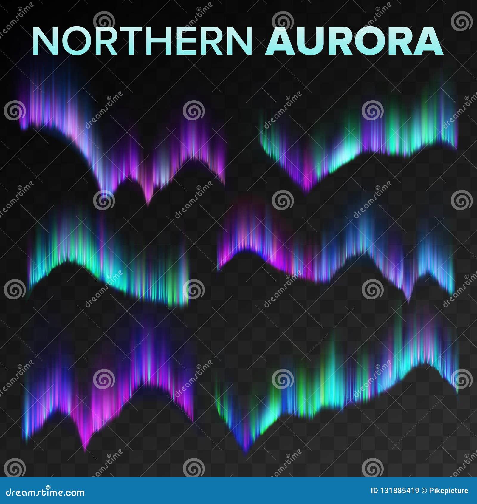 Βόρειο καθορισμένο διάνυσμα αυγής Πολικό λαμπρό μαγικό φαινόμενο νύχτας ουρανού Μαύρο διαφανές υπόβαθρο Αφηρημένη αυγή