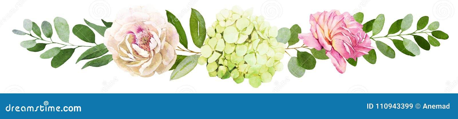 γάμος πρώτου πλάνου εστίασης 3 ανθοδεσμών Το Peony, Hydrangea και αυξήθηκε watercolor IL λουλουδιών