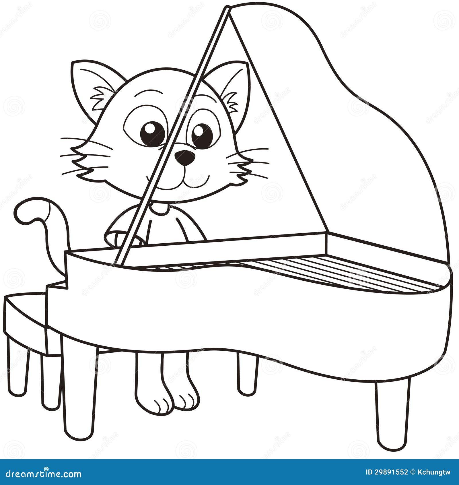 Γάτα κινούμενων σχεδίων που παίζει ένα πιάνο