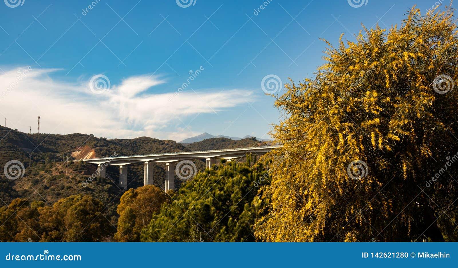 Γέφυρα στην Ισπανία στο ηλιοβασίλεμα