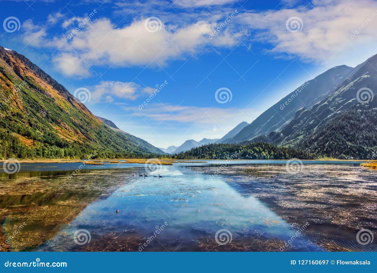 Γαλήνια από την Αλάσκα λίμνη βουνών στη χερσόνησο Kenai κατά τη διάρκεια Autum