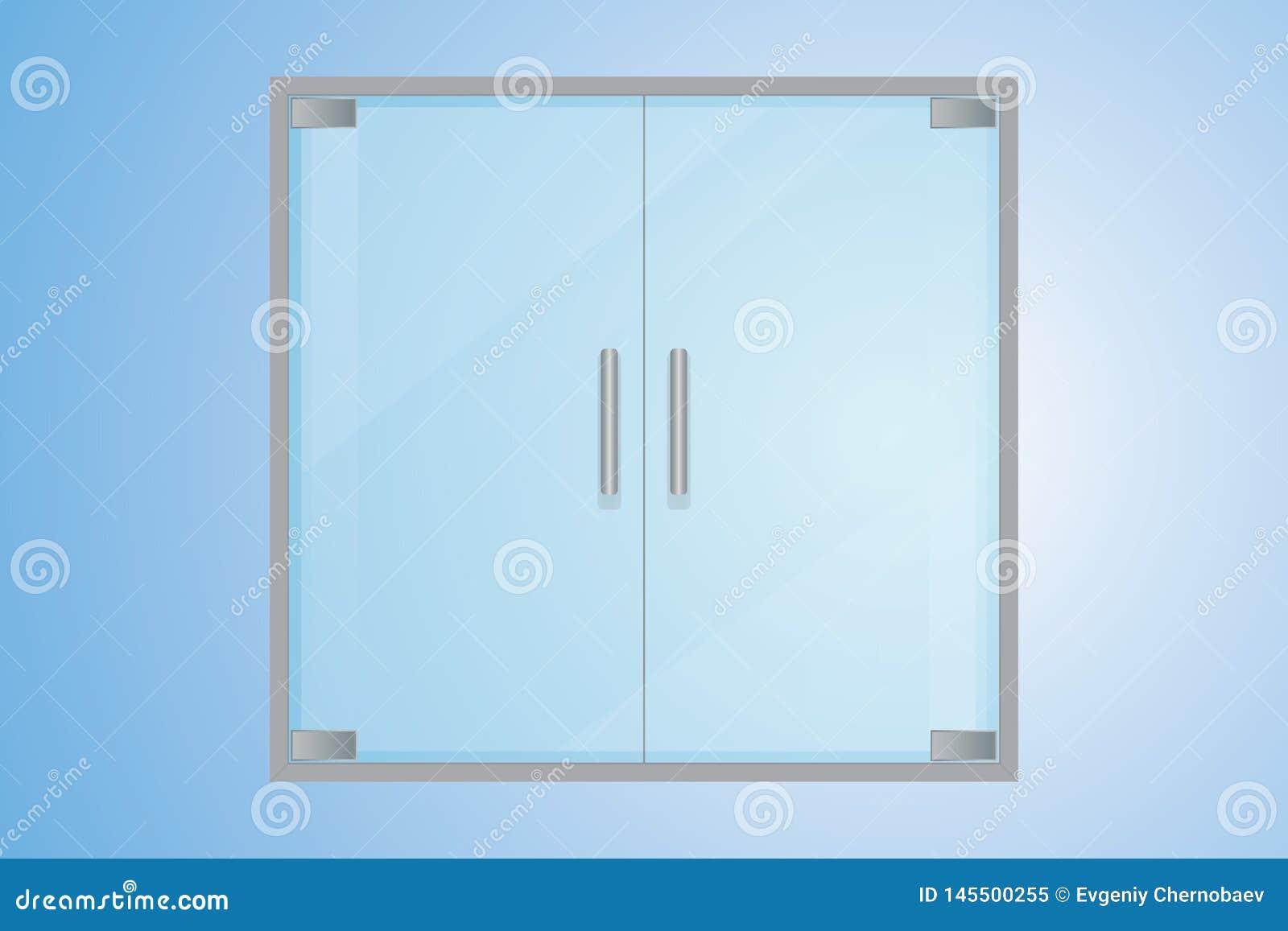 Γαλαζοπράσινες διαφανείς πόρτες γυαλιού με τις λαβές μετάλλων λαβών μετάλλων swith Μπλε διαφανείς διπλές πόρτες με την κλίση μετά