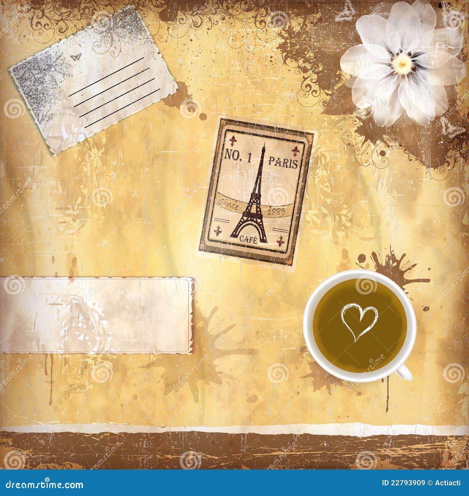 γαλλικός βρώμικος καφέ ανασκόπησης