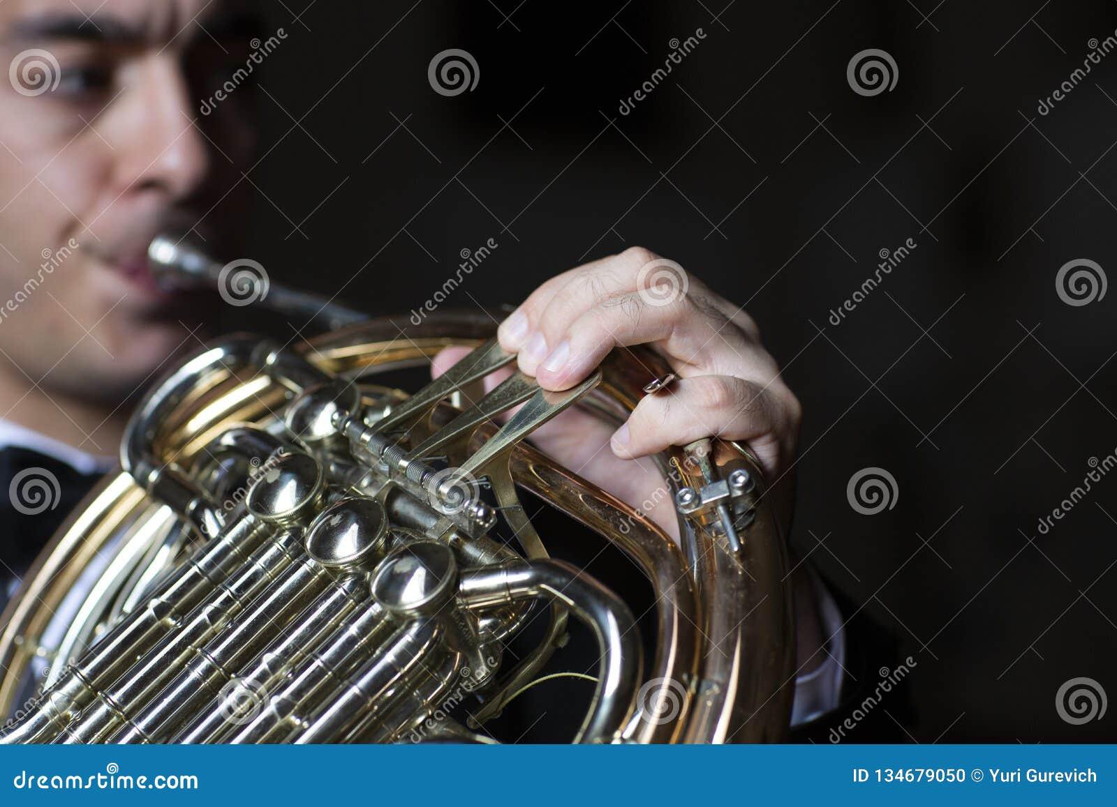 Γαλλικός φορέας κέρατων Όργανο μουσικής ορχηστρών ορείχαλκου παιχνιδιού Hornist