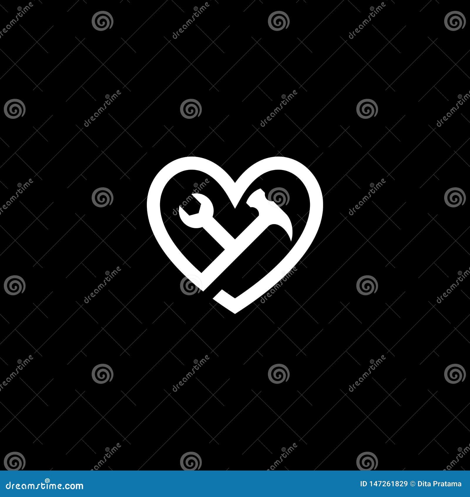Γαλλικό κλειδί εργαλείων αγάπης & λογότυπο σφυριών