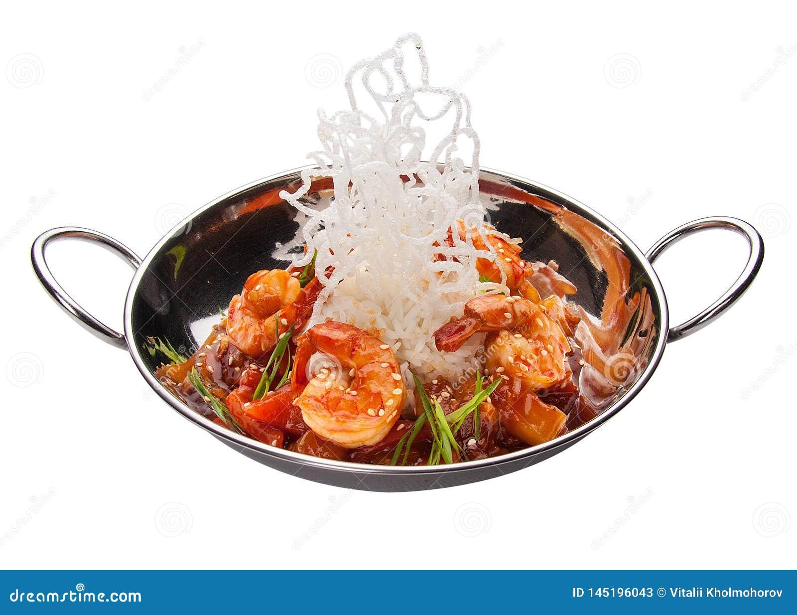 Γαρίδες με τα λαχανικά στη γλυκόπικρη σάλτσα E