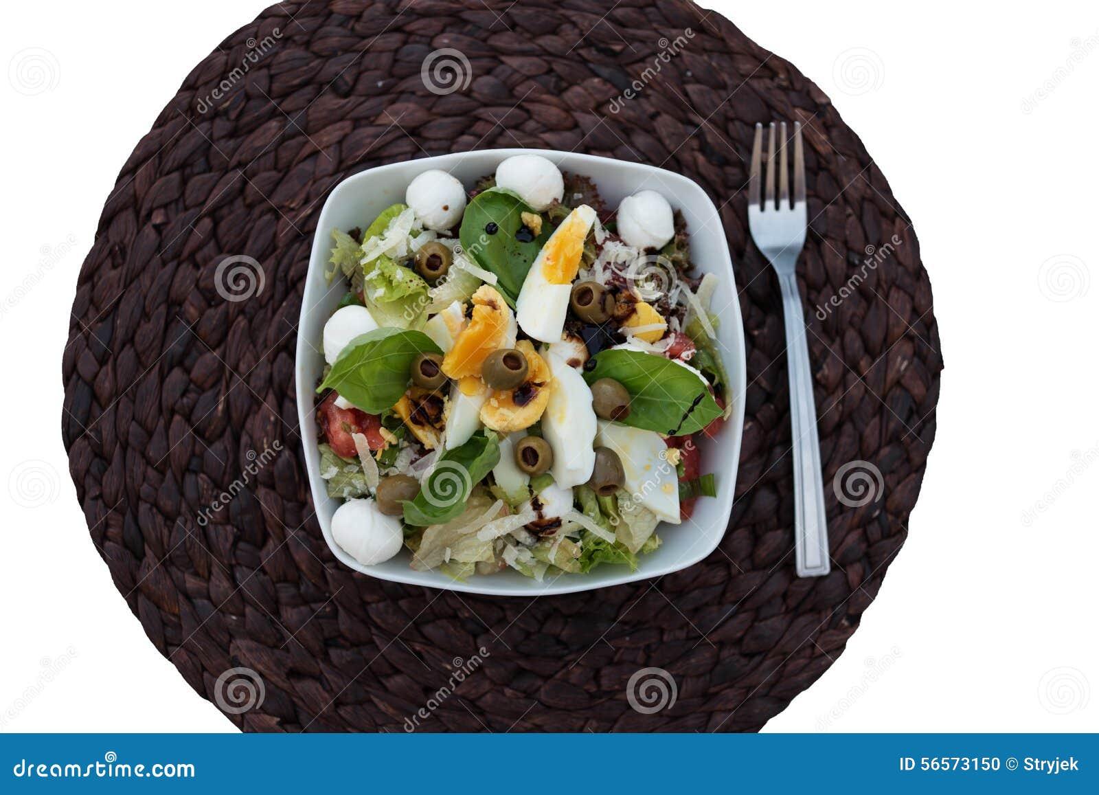 Download Γαστρονομικά θρεπτικά τρόφιμα στο κύπελλο σε στρογγυλό Placemat Στοκ Εικόνες - εικόνα από θρεπτικός, αυγά: 56573150