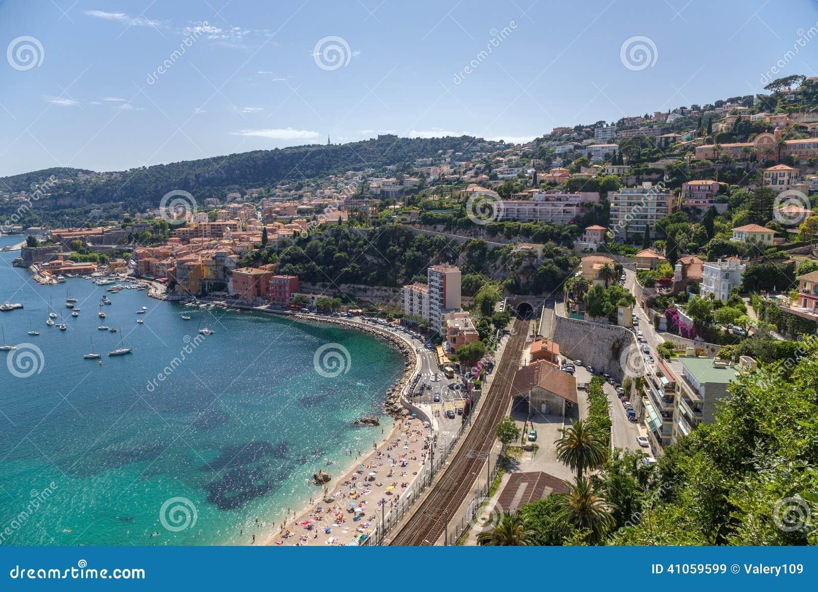 Γαλλία Πόλη του Villefranche-sur-Mer και του κόλπου Villefranche