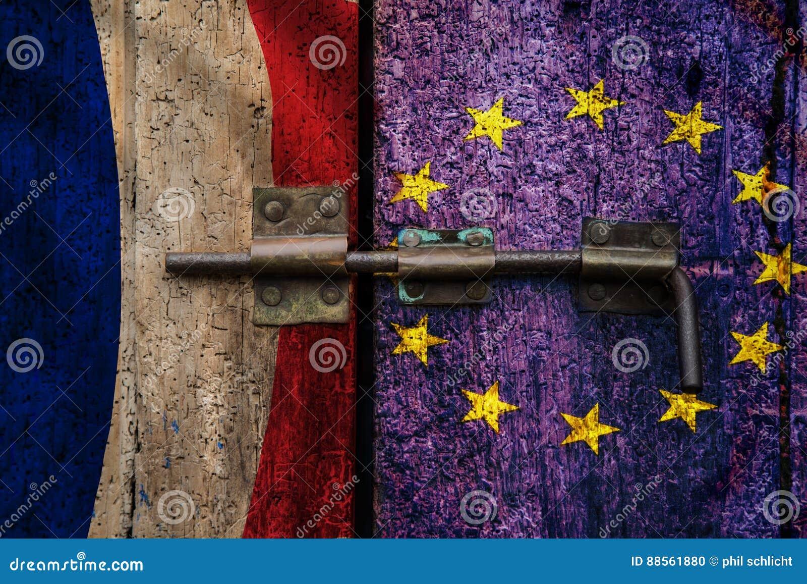 Γαλλική σημαία εξόδων της ΕΕ Frexit γαλλική
