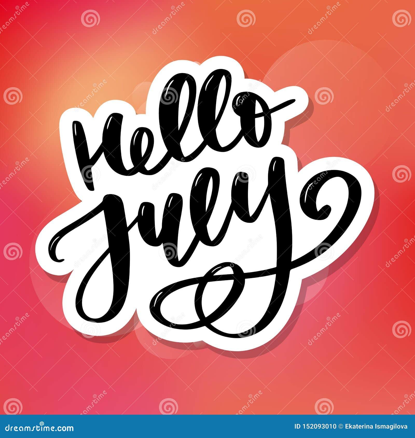 Γειά σου γράφοντας τυπωμένη ύλη Ιουλίου Θερινή minimalistic απεικόνιση Απομονωμένη καλλιγραφία στο άσπρο υπόβαθρο