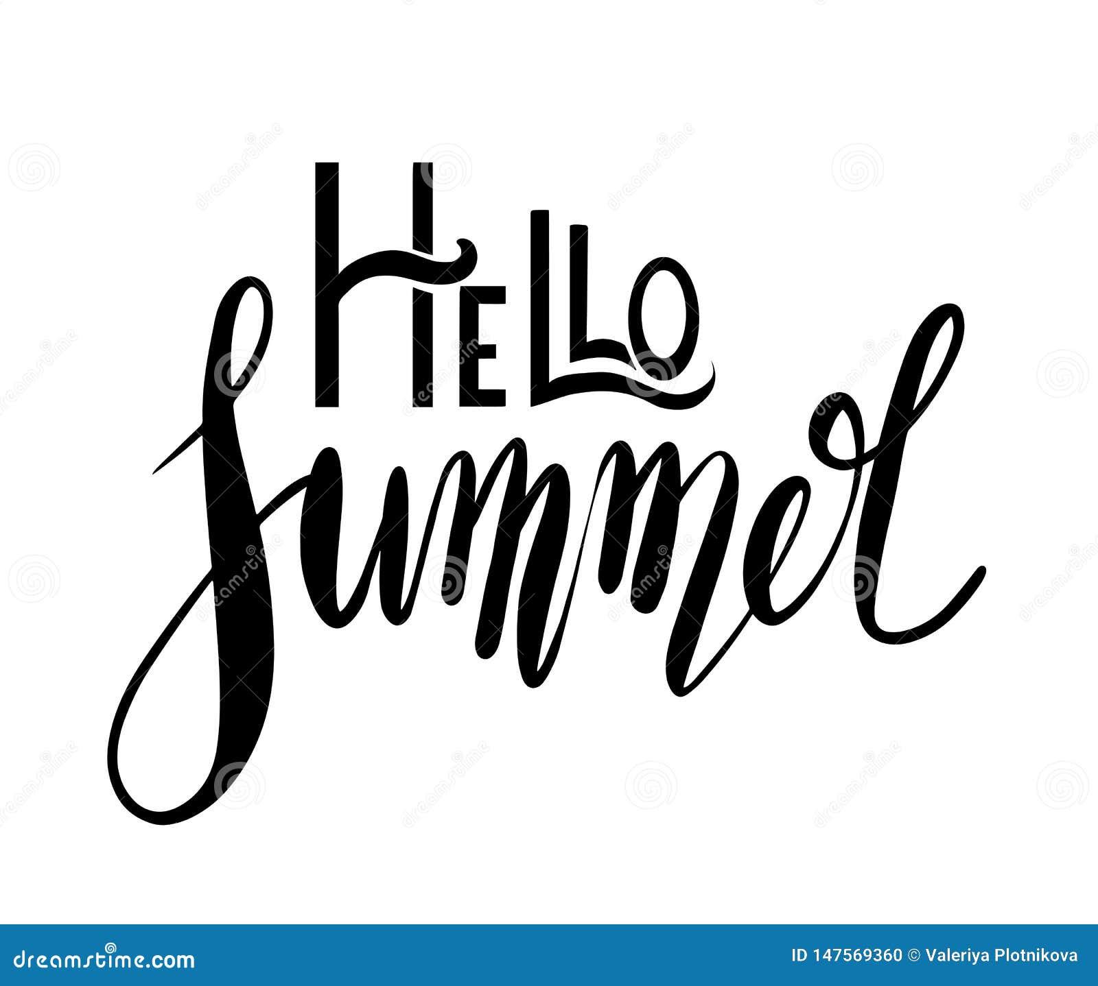 Γειά σου καλοκαίρι, χειρόγραφη εγγραφή Θετικό απόσπασμα για την έμπνευση Διανυσματικό στοιχείο καλλιγραφίας