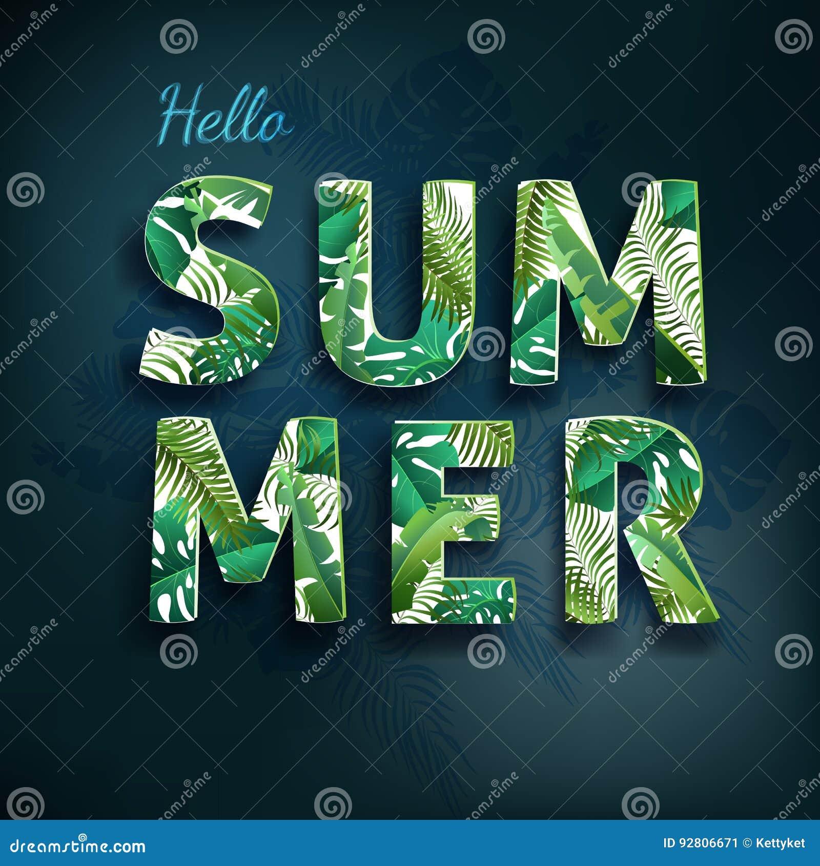 Γειά σου καλοκαίρι, καλοκαίρι Η αφίσα κειμένων στο κλίμα