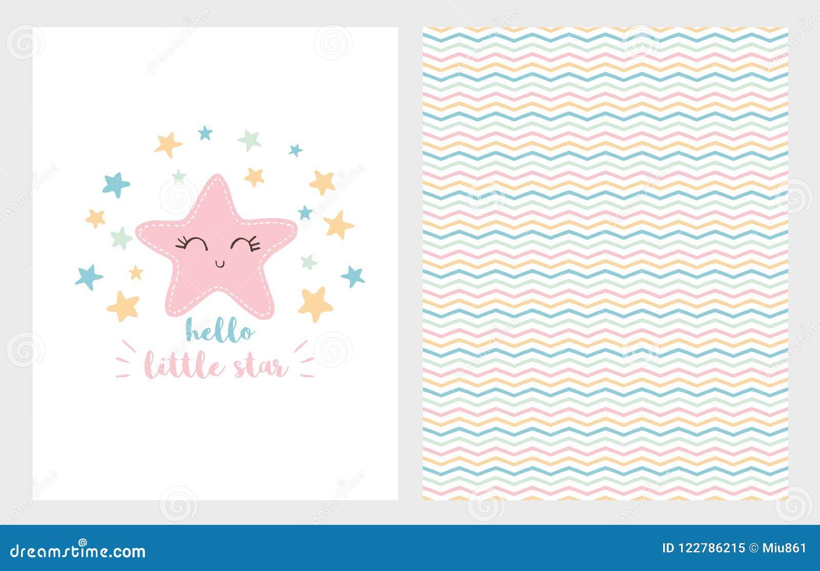 Γειά σου λίγο διανυσματικό σύνολο απεικόνισης αστεριών Συρμένο χέρι σχέδιο Χαμογελώντας ρόδινο αστέρι νέο ντους καρτών αγοριών μω