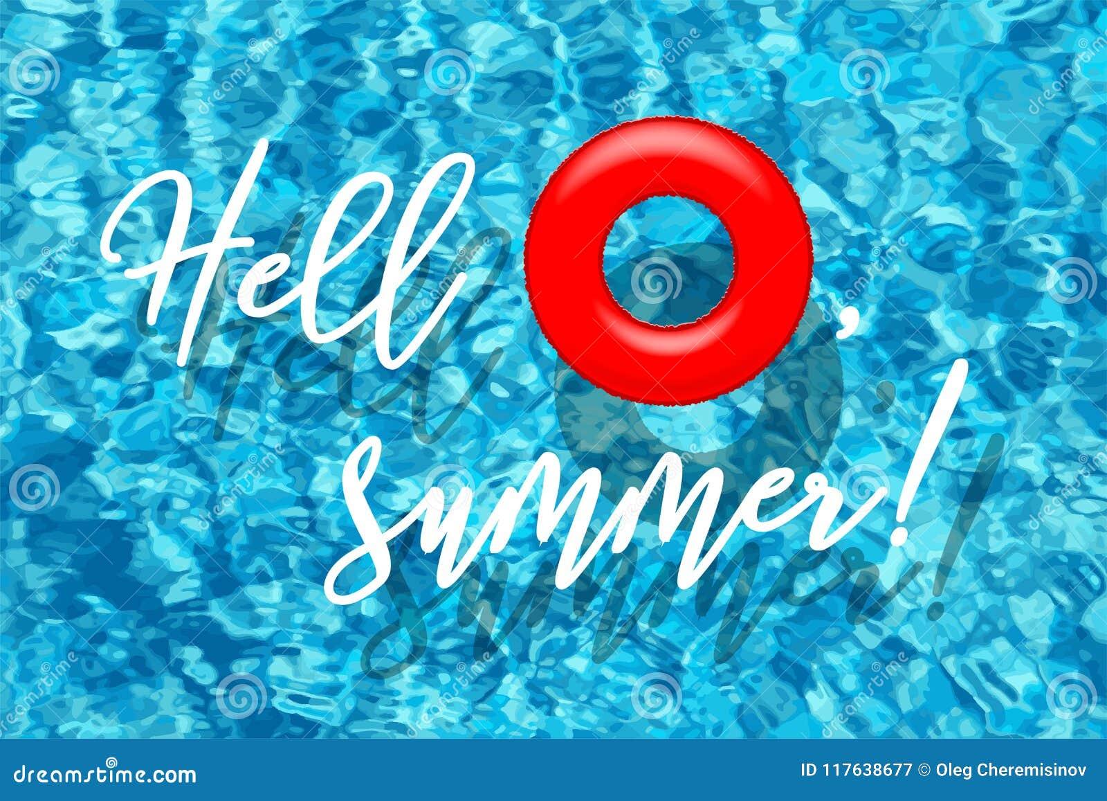 Γειά σου, οι θερινές λέξεις με το κόκκινο κολυμπώντας δαχτυλίδι στην μπλε λίμνη ποτίζουν το υπόβαθρο επίσης corel σύρετε το διάνυ