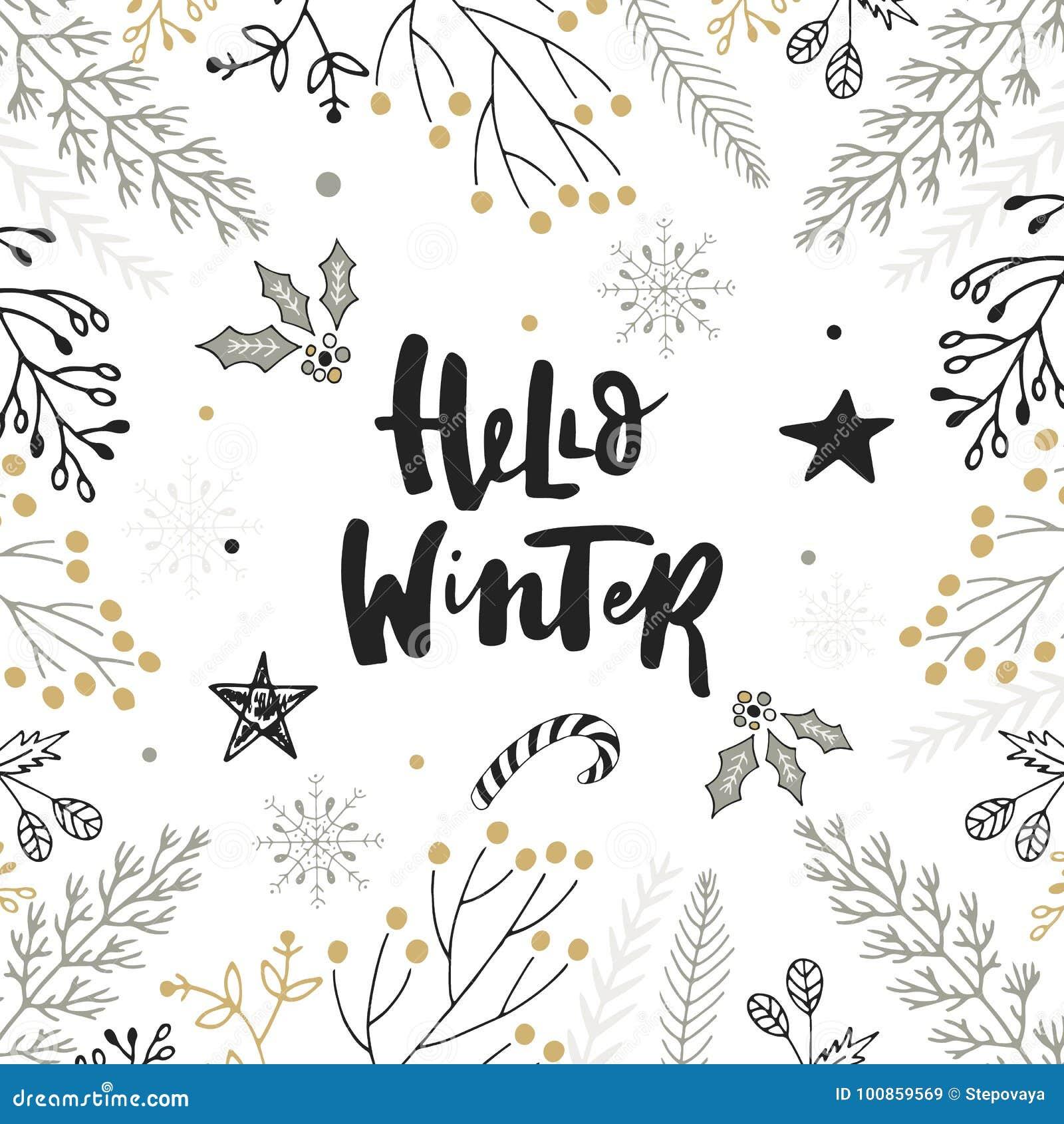 Γειά σου χειμώνας - συρμένη χέρι εγγραφή Χριστουγέννων με floral και τις διακοσμήσεις Χαριτωμένη νέα τέχνη συνδετήρων έτους επίση