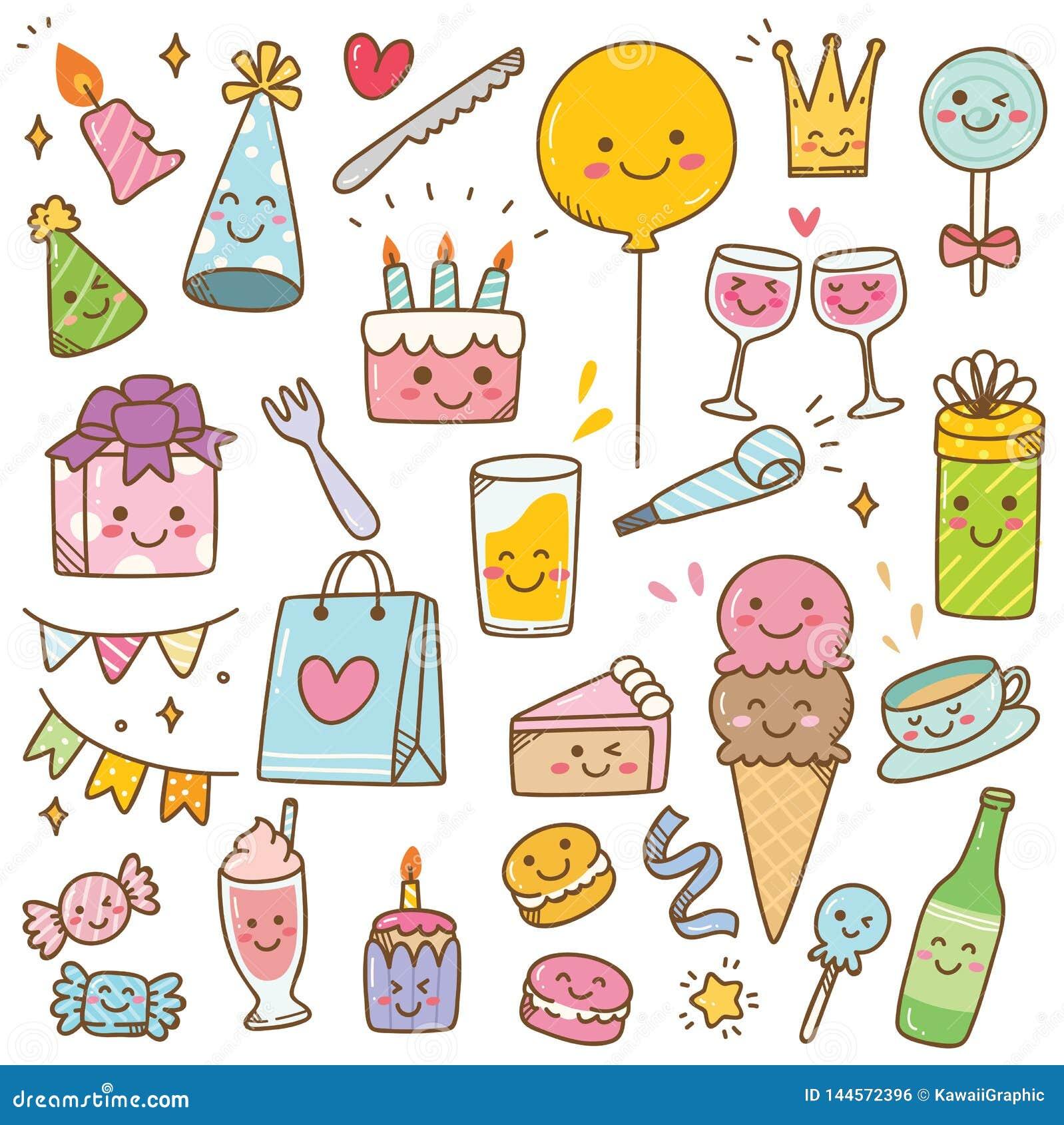 Γενέθλια ύφους Kawaii doodle που απομονώνονται στο άσπρο υπόβαθρο
