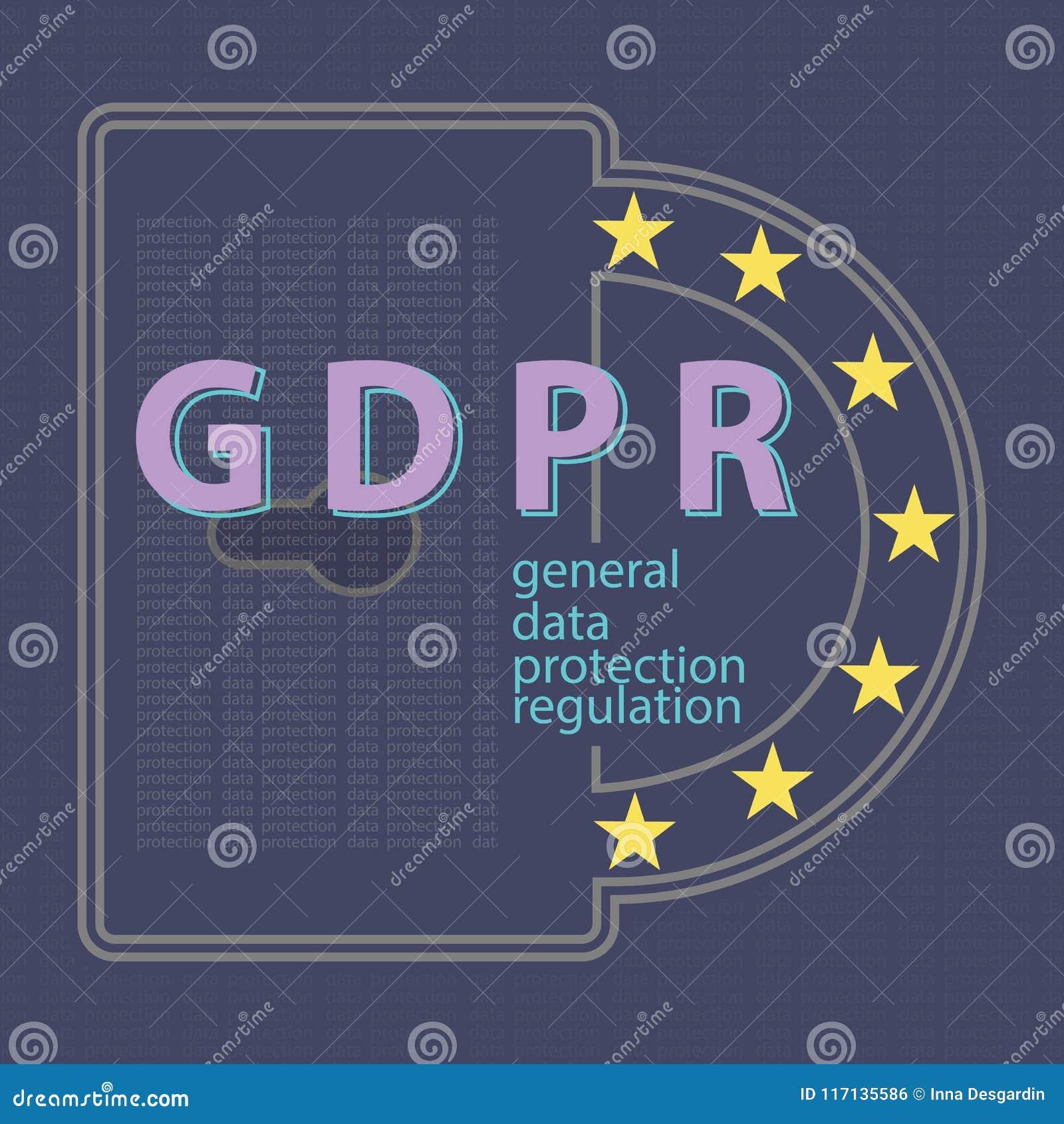 Γενικό διάνυσμα έννοιας κανονισμού προστασίας δεδομένων GDPR illustrat