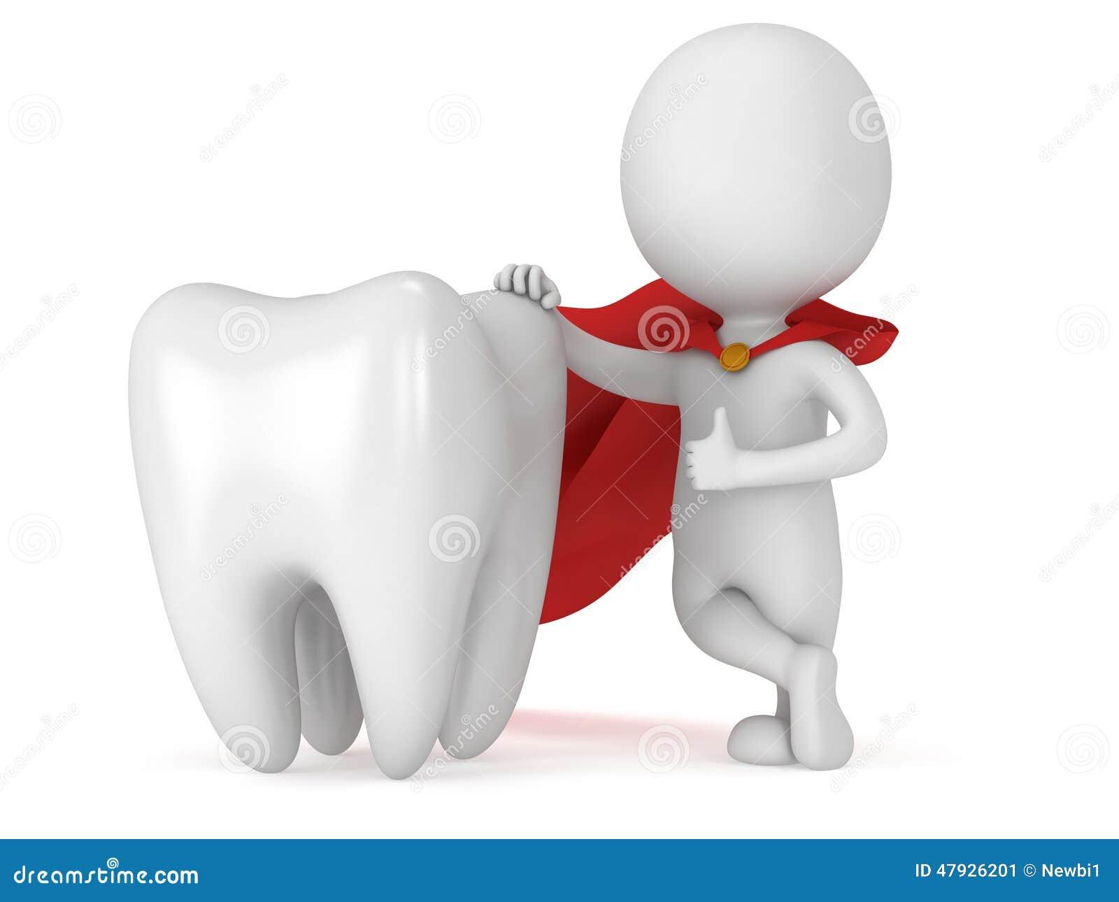 Γενναίος οδοντίατρος superhero με το μεγάλο άσπρο δόντι