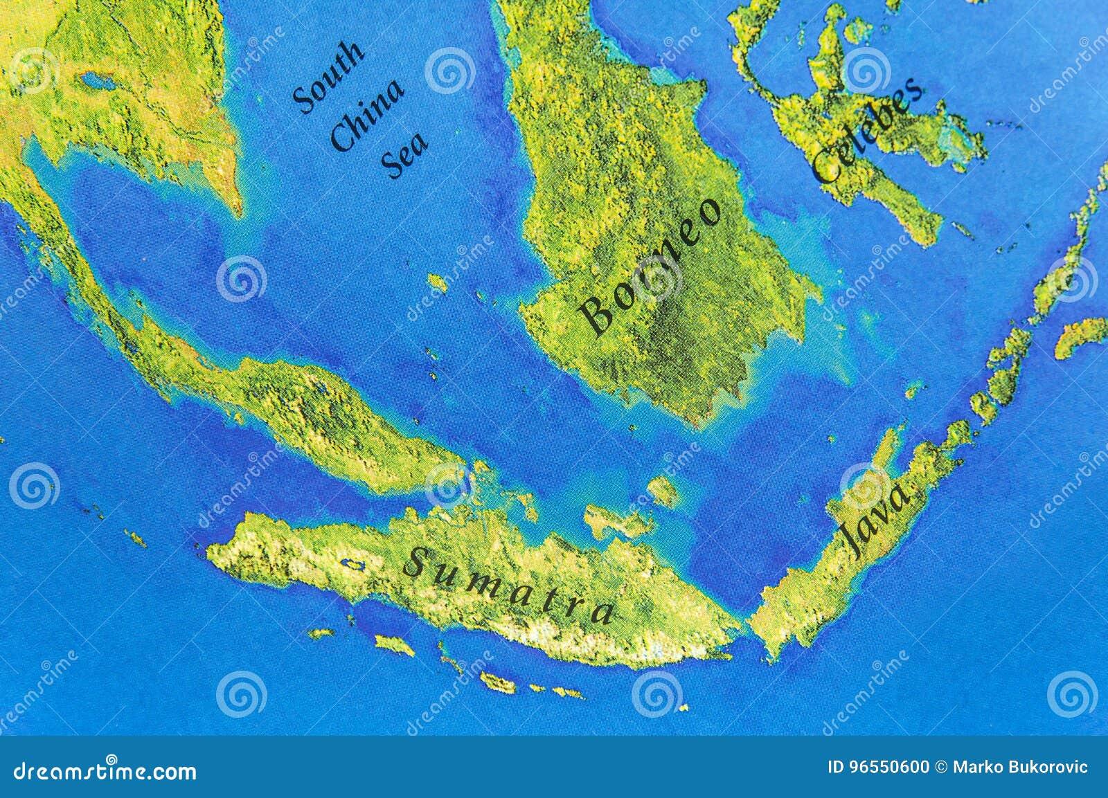 Γεωγραφικός χάρτης της Ιάβας, Sumatra, Celebes και των νησιών του Μπόρνεο
