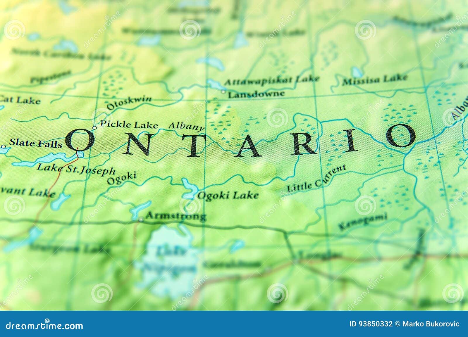 Γεωγραφικός χάρτης του κράτους Οντάριο του Καναδά με τις σημαντικές πόλεις