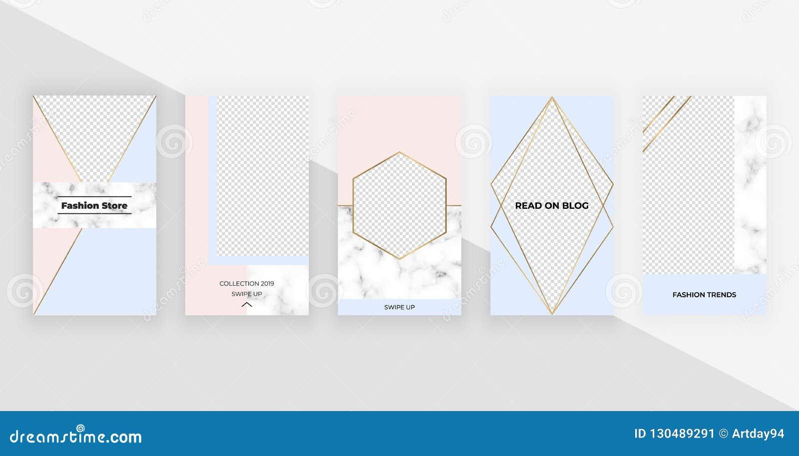 Γεωμετρικά πρότυπα μόδας για τις ιστορίες instagram, κοινωνικά μέσα, ιπτάμενα, κάρτα, αφίσα, έμβλημα Σύγχρονο σχέδιο κάλυψης με τ