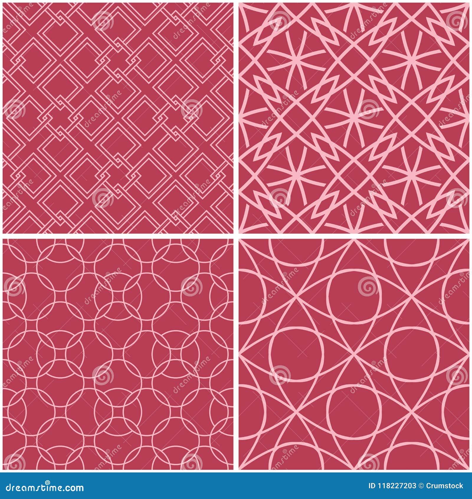 γεωμετρικά πρότυπα Σύνολο χλωμών κόκκινων άνευ ραφής υποβάθρων